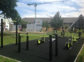The outdoor green gym at Chase Farm Hospital