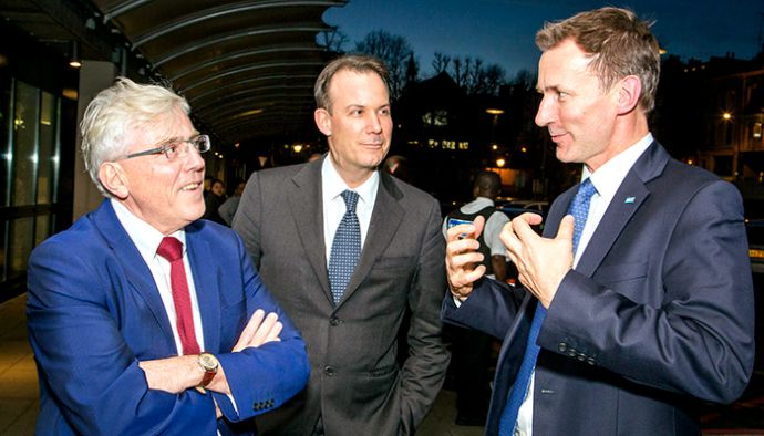 David Sloman, Royal Free London chief executive (left) and Dominic Dodd, Royal Free London, chairman, welcome Jeremy Hunt to the Royal Free Hospital