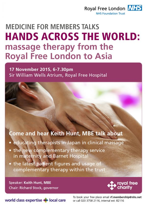 Medicine for members event - massage therapy from the Royal Free London to Asia