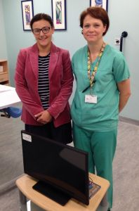Maria Huant, head of hospital liaison for north and east London Sands, and Karolina Demetriou, midwife