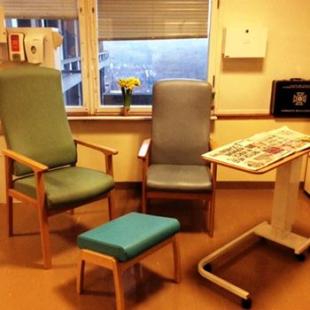 The discharge lounge at the Royal Free Hospital