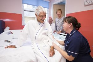Patient and nurse on Larch ward
