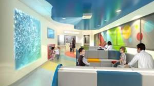 Artist's impression of emergency department paediatric waiting area