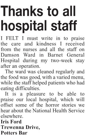 Thanks to all hospital staff, letter in Barnet Press